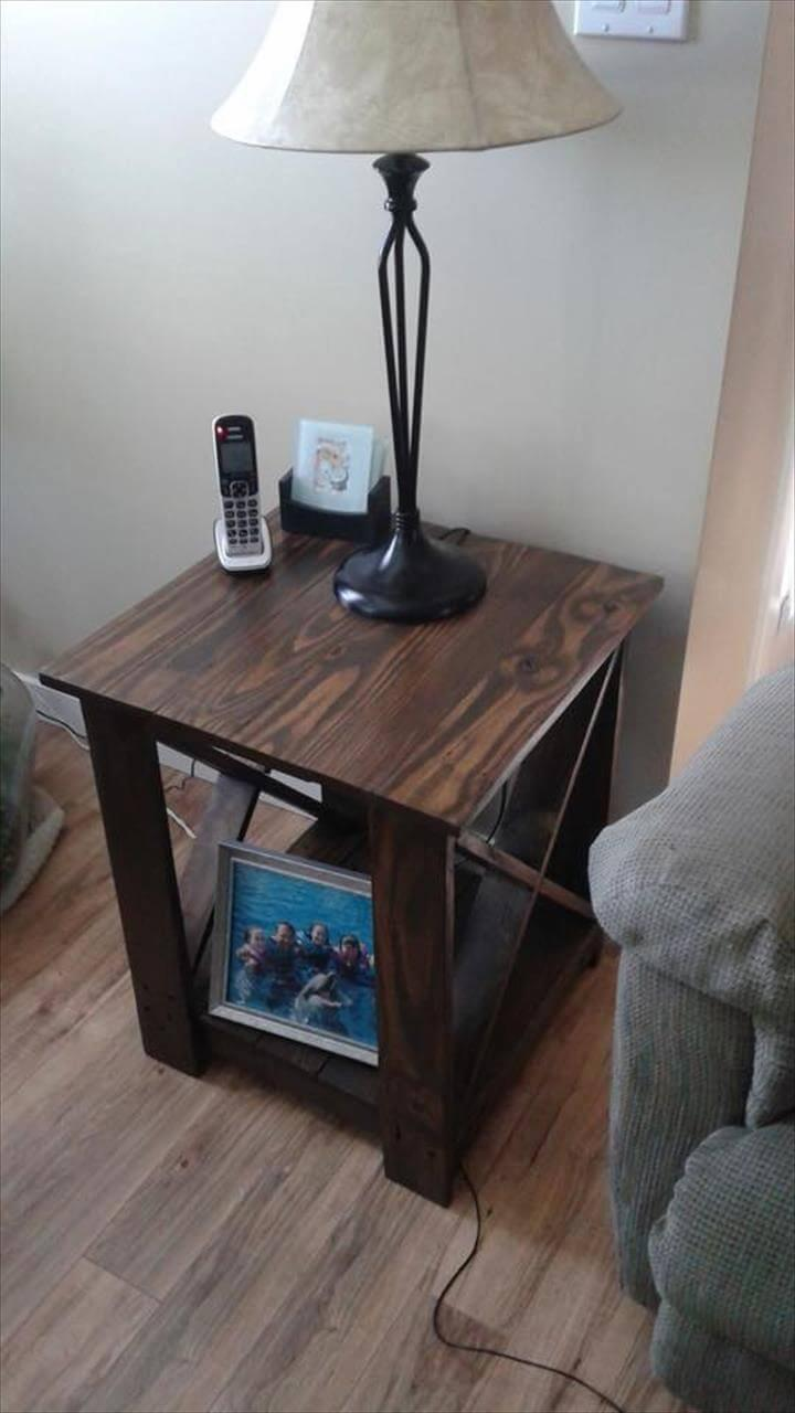 Repurposed pallet side table