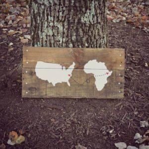 wooden pallet map wall art
