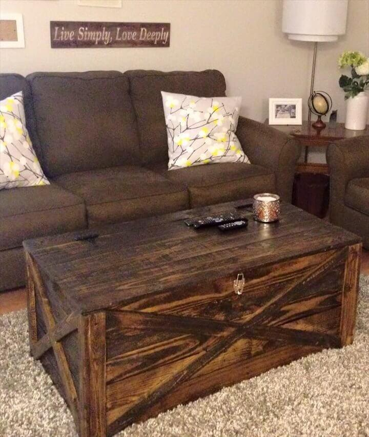 diy pallet storage friendly coffee table