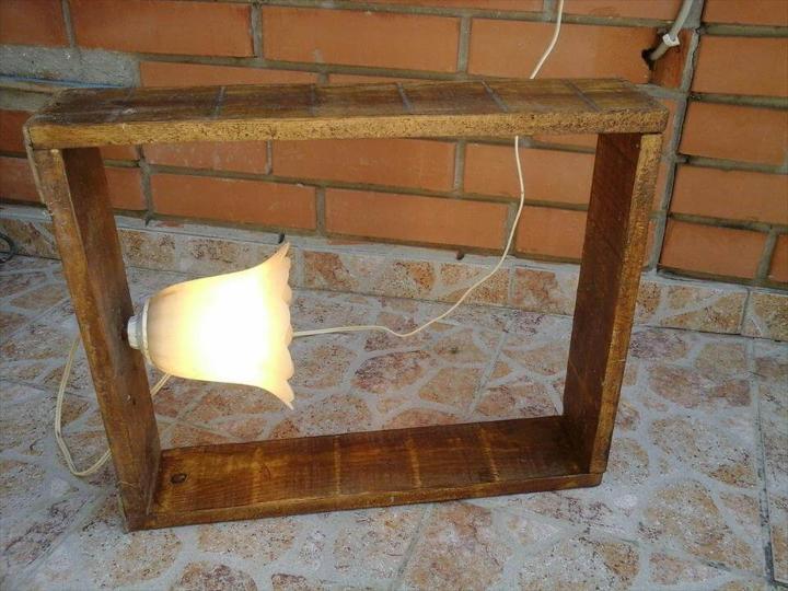 handmade wooden pallet lamp