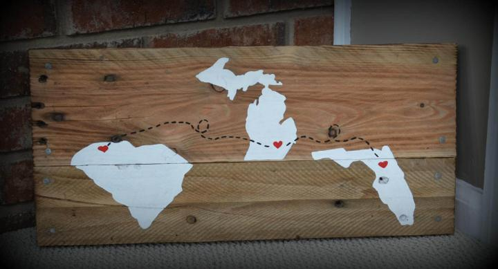 repurposed pallet map wall art