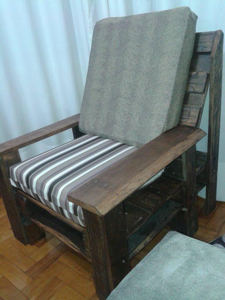 regained pallet wooden chair with cushion