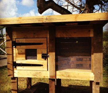 handmade wooden pallet chicken coop and rabbit house
