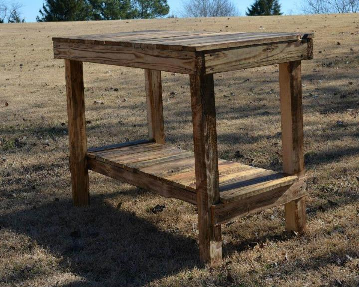 repurposed pallet kitchen island and console table