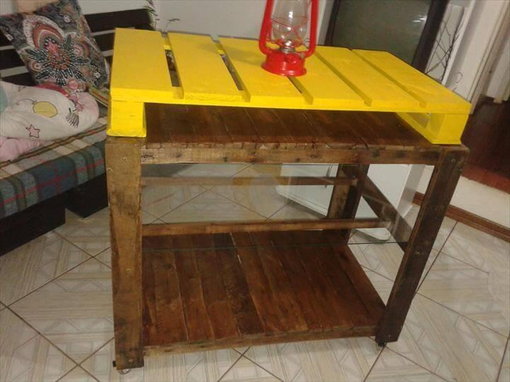 diy pallet yellow sofa table with wheels