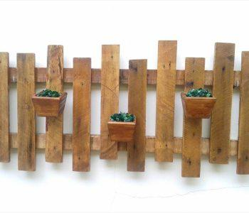 wooden pallet accent wall hanging planter