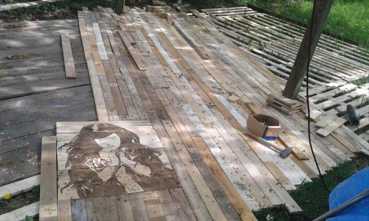 upcycled pallet decking