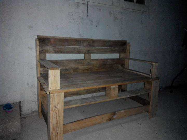 handcrafted pallet bench
