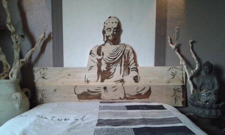 pallet Buddha headboard
