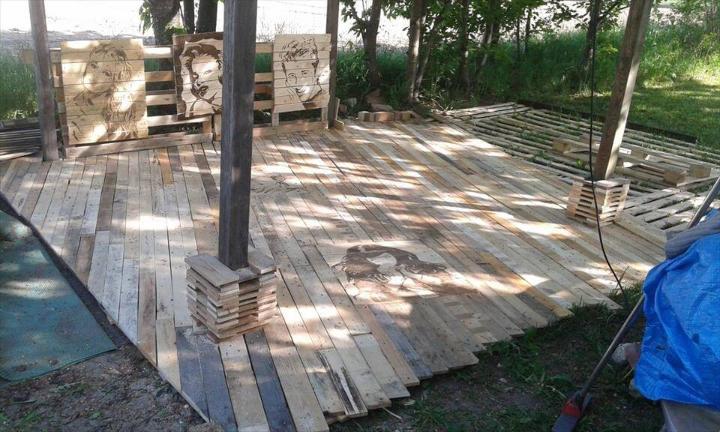wooden pallet decking