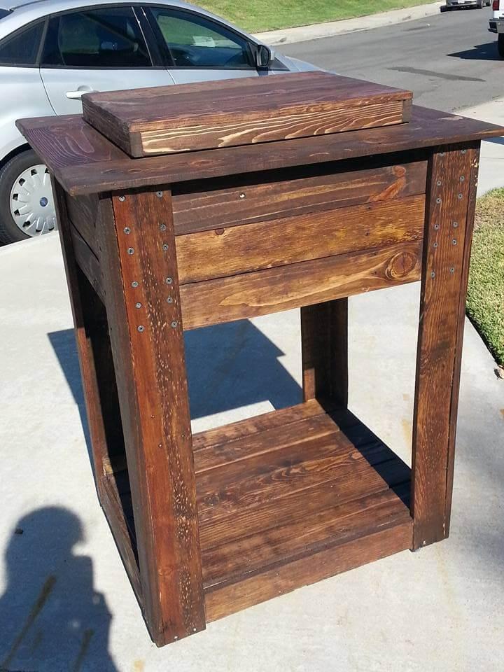 diy pallet dark brown stained outdoor cooler