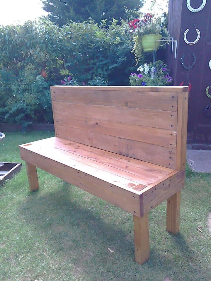 reclaimed pallet armless bench
