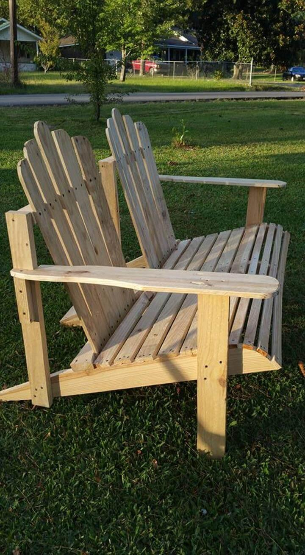 wooden pallet Adirondack bench