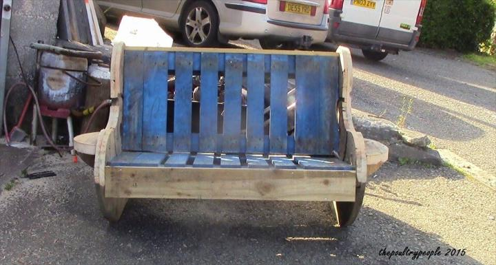 handmade wooden pallet and cable reel bench