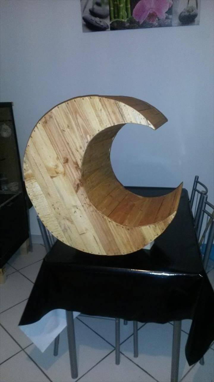 handmade wooden pallet cradle moon