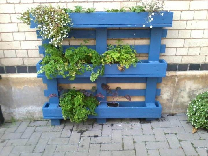 wooden blue painted pallet planter
