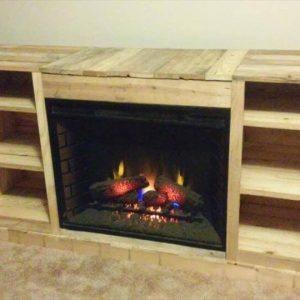 recycled pallet wooden media cabinet with fireplace
