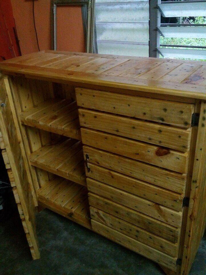wooden pallet sideboard and kitchen utensil cabinet