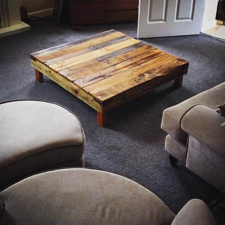 handmade pallet square low coffee table