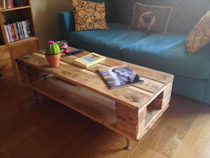extra long pallet coffee table with a built-in shelf