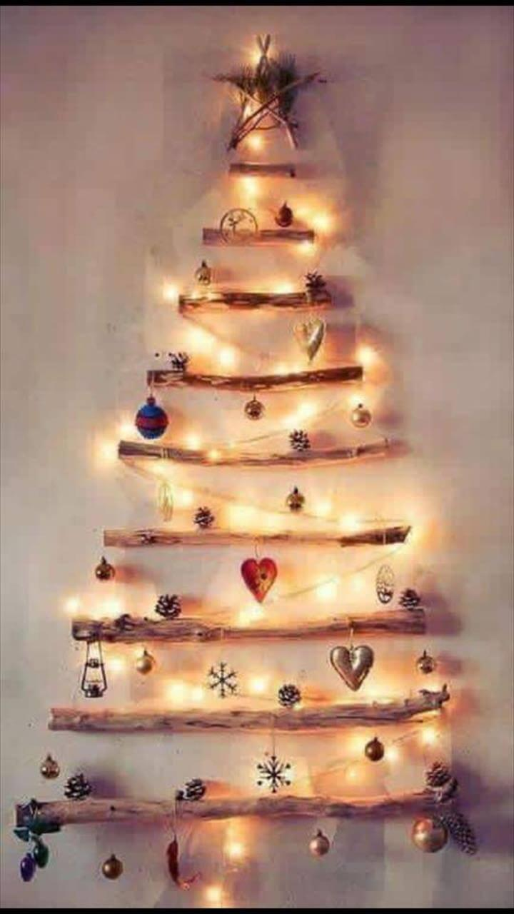 wooden pallet tree with lights and ornaments