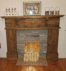 Rustic pallet mantle shelf