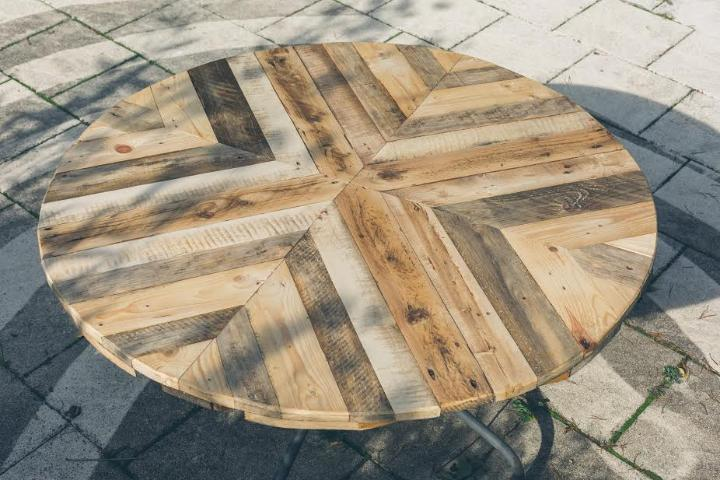 wood pallet multi-chevron dining table