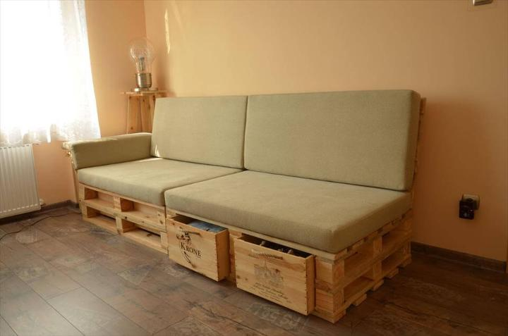 gorgeous pallet sofa with drawers
