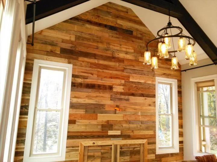 diy pallet interior wall paneling