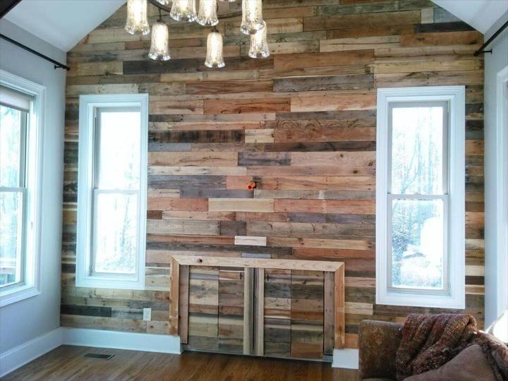 handmade pallet interior wall paneling