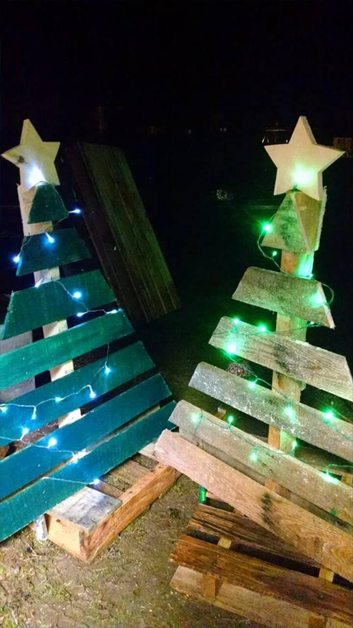 low-cost pallet festival tree decor