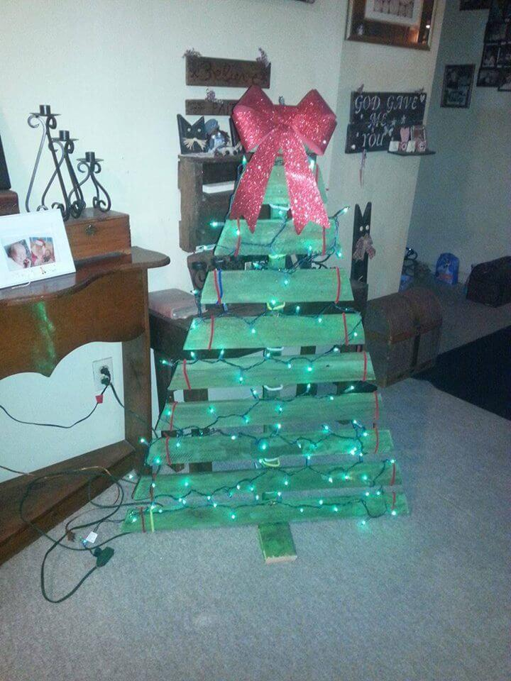 handcrafted pallet green festival tree decor