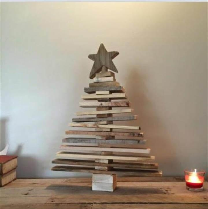 rustic wooden tree made of pallets