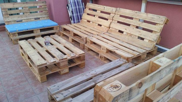 rustic pallet wood patio sofa set