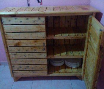 upcycled pallet sideboard and kitchen utensil cabinet