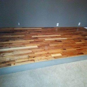 Recycled pallet wooden floor