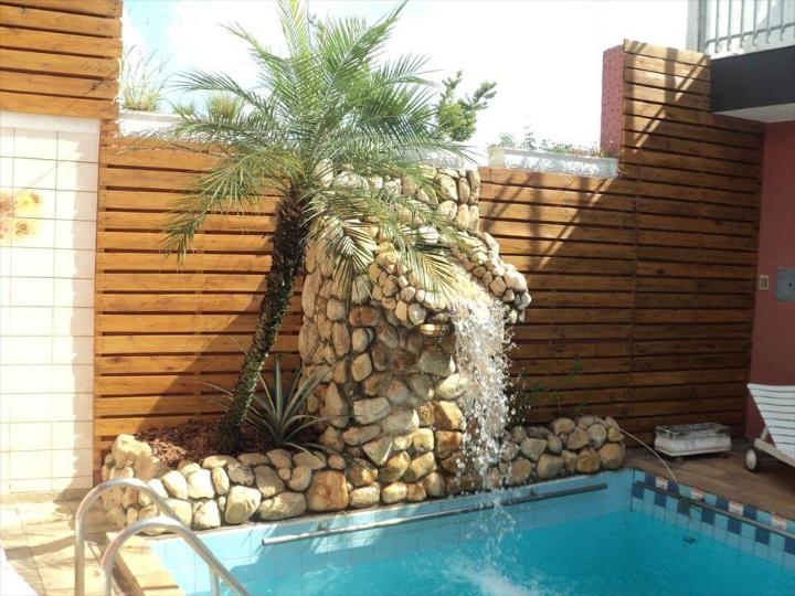 pallet poolside accent wall