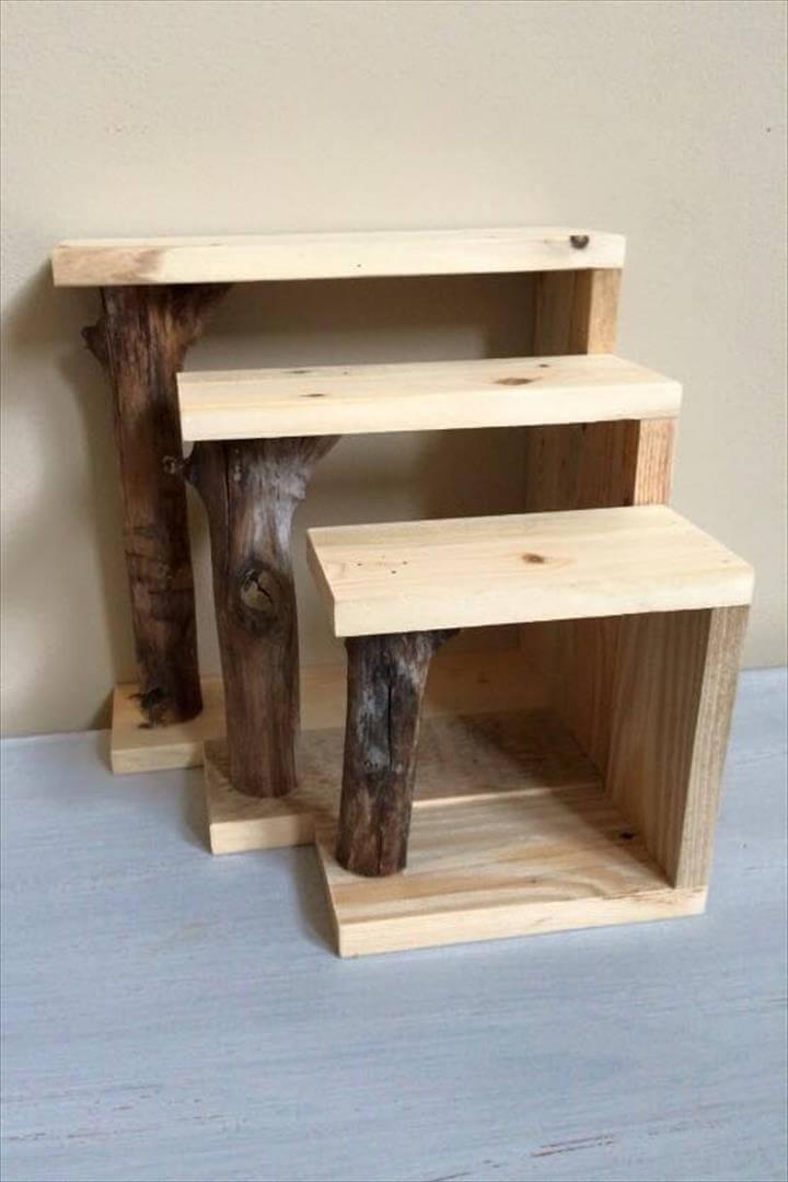 Diy Pallet Shelf And Tree Branch Coat Rack Easy Pallet Ideas