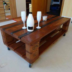 upcycled wooden pallet coffee table with bottom shelf