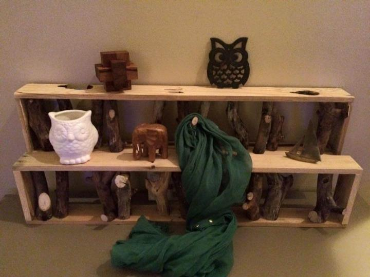 Up-cycled pallet and tree branch coat rack