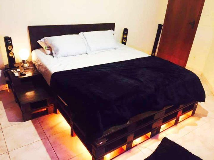 black pallet lighted platform bed