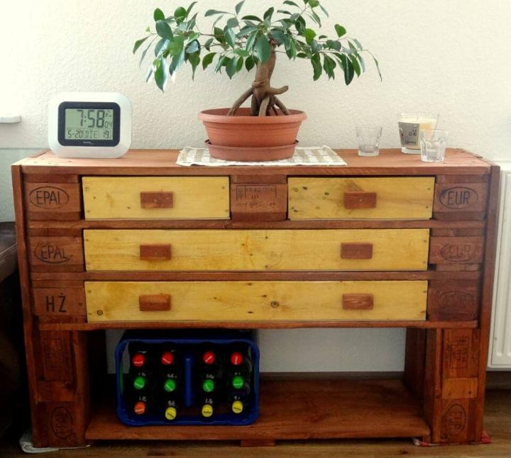 handcrafted pallet chest of drawer or console table