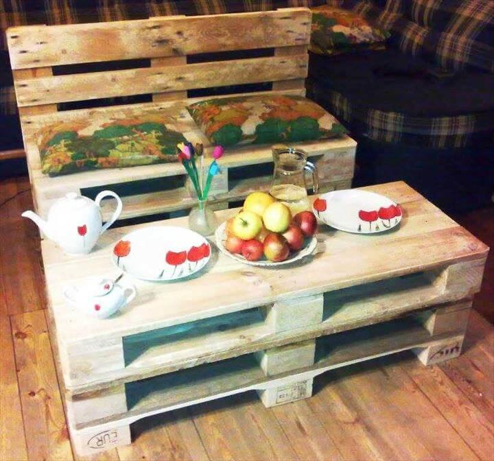 handmade pallet bench and coffee table