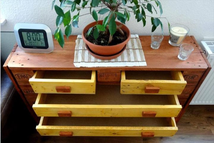 upcycled pallet chest of drawer and sofa side table
