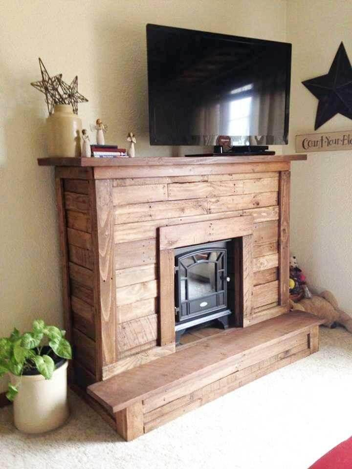 pallet fireplace and console table