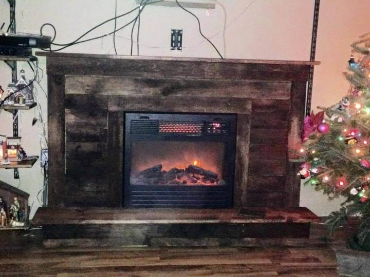 Pallet Fireplace With Tv Stand Easy Pallet Ideas