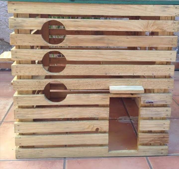 handmade wooden pallet pet house