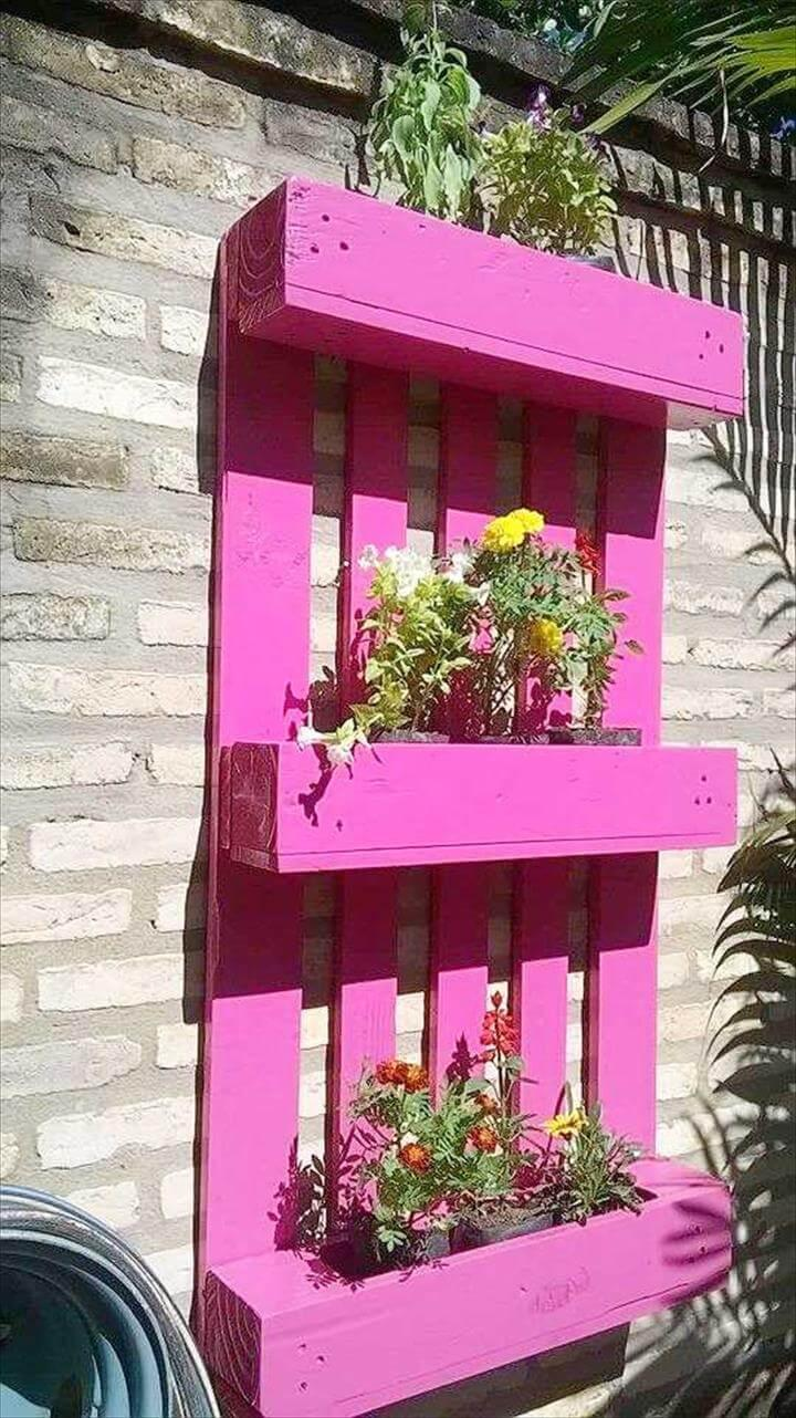 low-cost wooden pallet wall planter shelf