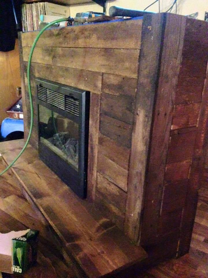 low-cost mid century modern pallet fireplace