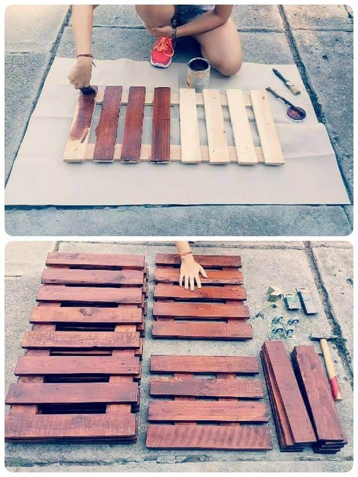 staining the wooden slats